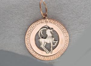 Золотой знак зодиака козерог